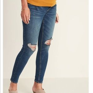 Old Navy Maternity Distressed Rockstar Jeans